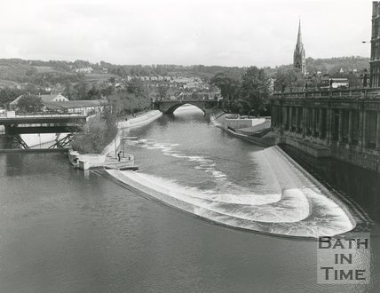 View of the newly constructed Pulteney Weir and flood defence scheme, Bath, 1972