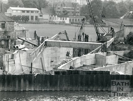 Construction of the flood defence scheme at Pulteney Weir, Bath, July 1970