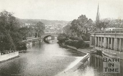 View taken from the Stocking Shop, Pulteney Bridge of the river, Bath, c.1950s?