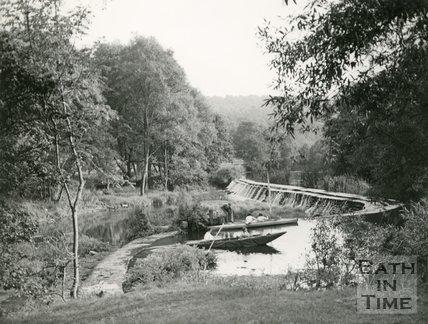 Warleigh Weir, River Avon, near Bath, c.1950s
