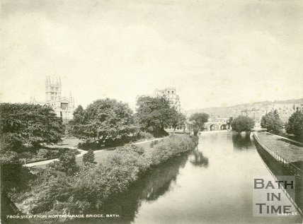 View of Parade Gardens and Pulteney Bridge from North Parade Bridge, c.1920s?