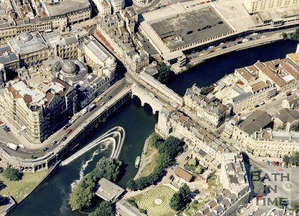 c.1980s Aerial view of the weir at Pulteney Bridge and Podium site, Bath