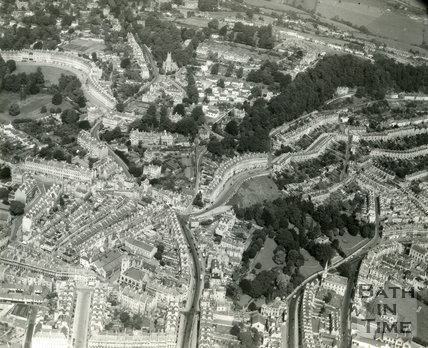 c.1965 Aerial view of Ballance Street, Hedgemead Park, Camden Crescent and Lansdown, Bath