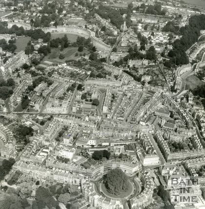 c.1965 Aerial View of Bath over the Circus, Julian Road, Balance Street and Lansdown