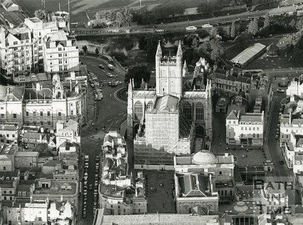 1991 Aerial view of Bath Abbey undergoing cleaning, May