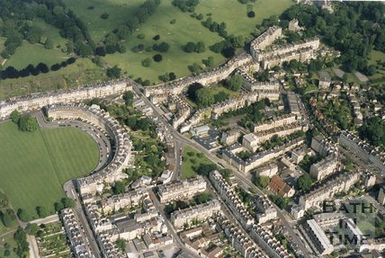 1991 Aerial view of Bath looking over the Royal Crescent