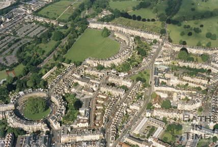 1991 Aerial view of Bath looking over the Circus and Royal Crescent