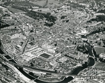 1975 Aerial view of Bath showing the newly built Beaufort (now Hilton) hotel and Southgate Shopping Centre