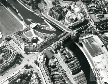 1975 Aerial view of Bath from above Laura Place