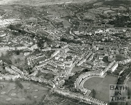 1971 Aerial view of Bath looking over the Royal Crescent towards Bathwick, 8 March