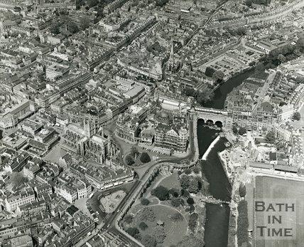 1070 Aerial view of Bath city centre, June