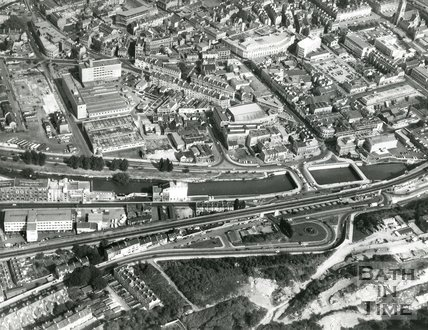 1971 Aerial view of Bath showing the Holloway area under construction