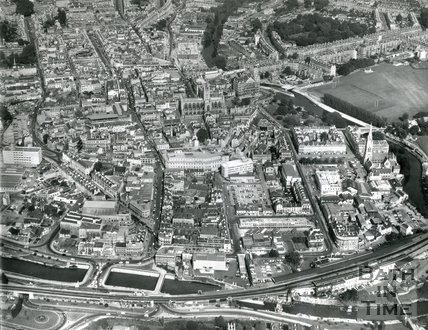 c.1970 Aerial view of Bath from above Beechen Cliff of the old Southgate area