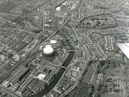 1973 Aerial view of Western Riverside, Bath, March