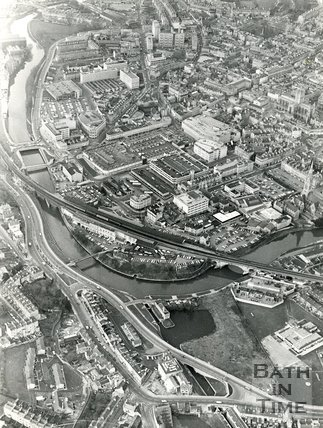 1980 Aerial view of Widcombe and Bath city, February