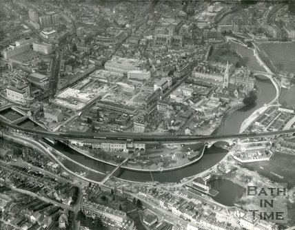 1973 Aerial view of Bath looking over Bath Spa station towards Southgate, 17 March