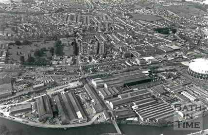 1981 Aerial view of the Stothert & Pitt works looking towards Oldfield Park, Lower Bristol Road, Bath, 28 July