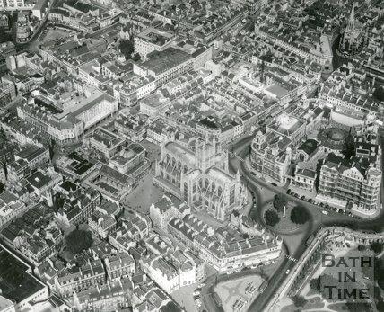 1965 Aerial view of Bath City Centre