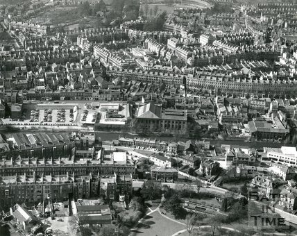 1960 Aerial view of Henrietta Park, Walcot Street and the Paragon, Bath