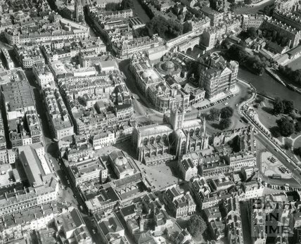 1965 Aerial view of Bath Abbey and City Centre