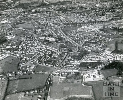1960s Aerial view of Rush Hill, Culverhay School, Whiteway Road, Southdown and Oldfield Park, Bath