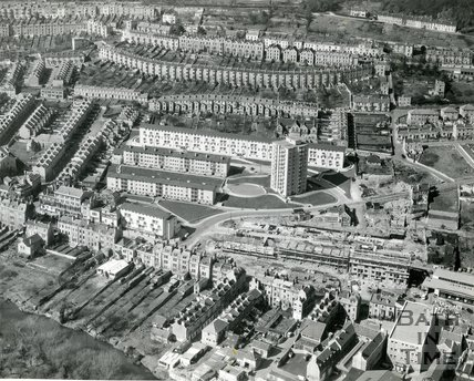 1960 Aerial view of the Snow Hill estate, Belgrave Crescent, Camden, Bath