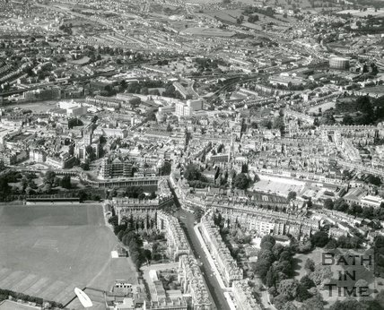 1966 Aerial view of Bath looking over Great Pulteney Street to the south west