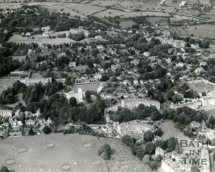 1960s Aerial view of Bath looking at Cavendish Crescent, Somerset Place and Lansdown