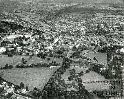 1965 Aerial view of Bath looking east
