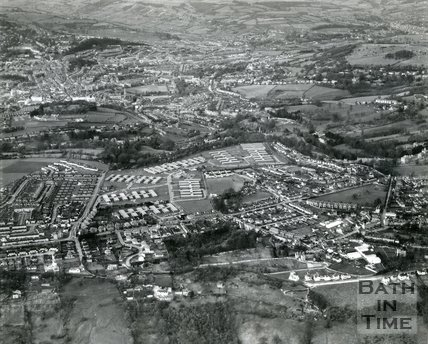 1960s Aerial view of the Foxhill MOD site, Combe Down and the distant city of Bath