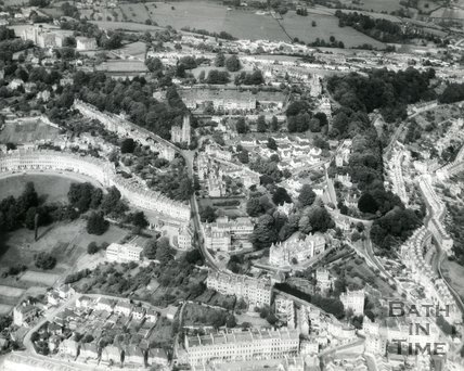 1960s Aerial view of Lansdown Crescent, St Stephens church and a distant Fairfield Park