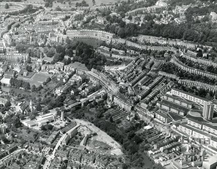 1964 Aerial view of Bathwick, the fire station, Snow Hill and Camden Crescent, Bath