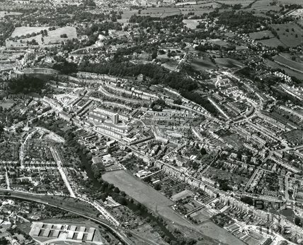 1965 Aerial view of Snow Hill, London Road, Kensington Meadows, Bathwick and Larkhall, Bath, July