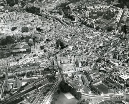 1965 Aerial view of Bath looking over Green Park towards Queen Square