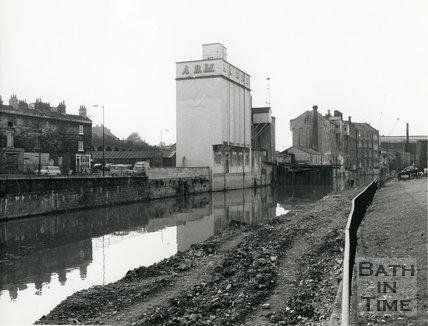 Riverside view of the Avon, looking towards the Newark Works, Bath, 31 October 1972