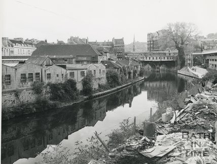 View from the Beaufort (now Hilton) hotel site looking towards the rear of Pulteney Bridge, 31 October 1972