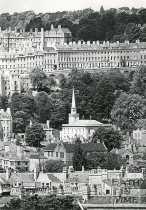 View of St Swithin's Church, Walcot and Camden Crescent, Bath, 1964