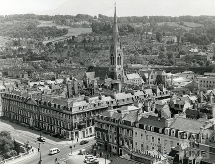 View of North Parade, Bath from the Abbey with Widcombe in the background, July 1970