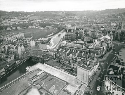 View from St Michaels church looking over the weir and the Guildhall, Bath, 15 November 1972