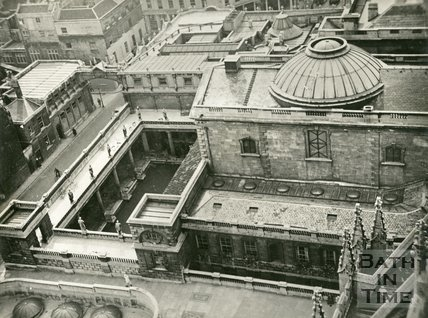 View from the tower of Bath Abbey of the Roman Baths, July 31 1942