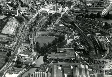 1965 Aerial view of Norfolk Crescent, Green Park station and Kingsmead development, (detail)