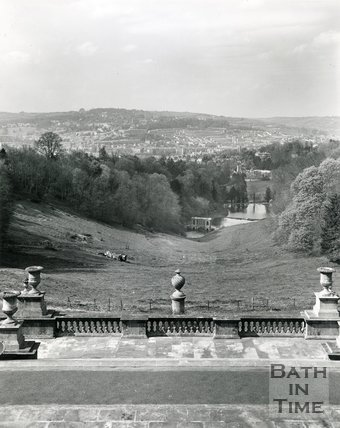 View of Bath and the Palladian Bridge from the steps at Prior Park, 1975/6