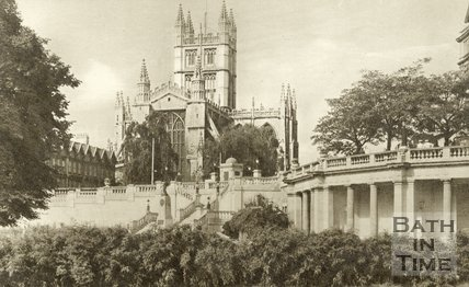 View of Bath Abbey from Parade Gardens, c.1930