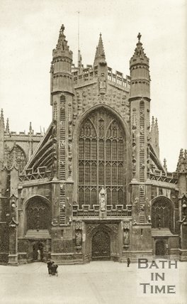 The West front of Bath Abbey viewed from Abbey Church Yard, c.1930