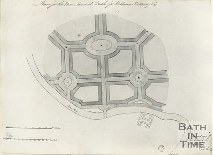 c.1780 Plan of the proposed new town at Bathwick by Robert Adam for William Pulteney