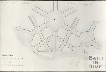 Robert Adam's plan of the proposed new town at Bathwick for William Pulteney, c.1780