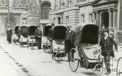 Bath chairs outside the Pump Room in Abbey Church Yard, c.1907