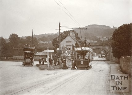 A Bath Tram at the junction with the A4 at Bathford, c.1910