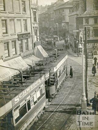 Bath trams on Kingsmead Street, Bath