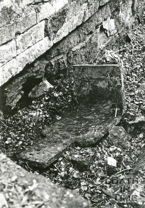Iron plate in a lock chamber at Combe Hay on the Somersetshire Coal Canal, c.1965